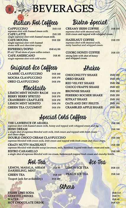 Bistro Claytopia menu 1