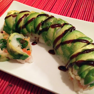 Tempura Shishito Pepper & Salmon Sushi w/ Sriracha-Lime Cream Cheese.