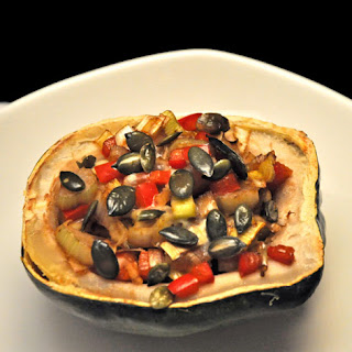 Acorn Squash Stuffed with Peppers and Leeks