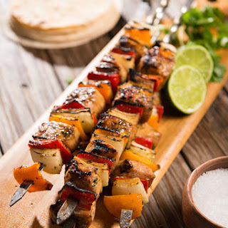 Grilled Chicken Fajita Skewers.