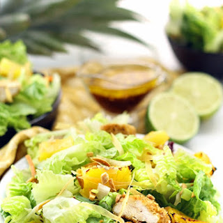 Crunchy Asian Chicken Salad with Roasted Pineapple