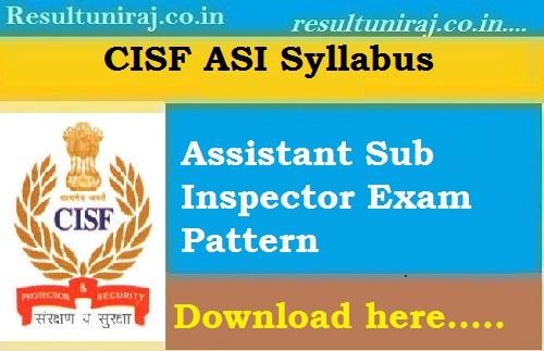 CISF ASI Syllabus 2018