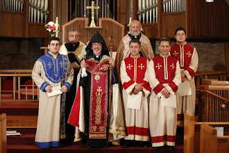 Photo: Archbishop, Clergy with Ordained Acolytes and Sub-Deacon