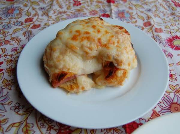 A Rich Once In Awhile Treat. A Buttery Croissant Filled With Ham And Cheese And Topped With A Wonderful Sauce. It Is To Die For!