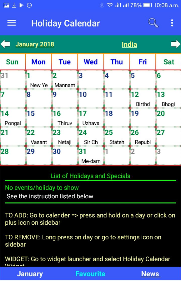 Android Application with Holidays 2012