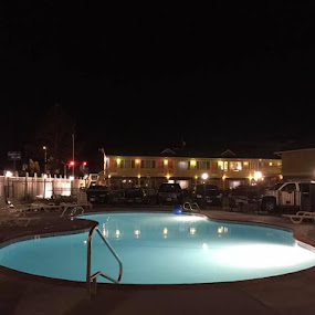 The pool, at night, at the Best Western, where we stayed in Roseburg.  Photo by scenebyawoman~ by Janet Young- Abeyta - City,  Street & Park  Night
