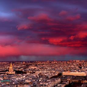 An evening in Paris by Sraddheshnu Basu - City,  Street & Park  Skylines ( paris, skyline, france, evening, city )