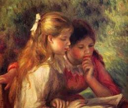 "Photo: Pierre-Auguste Renoir, ""Due bambine in lettura"""