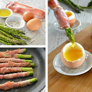 Prosciutto-Wrapped Asparagus Dipped in Soft Boiled Eggs.