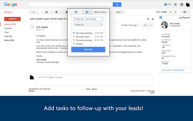 LeadSquared CRM for Gmail