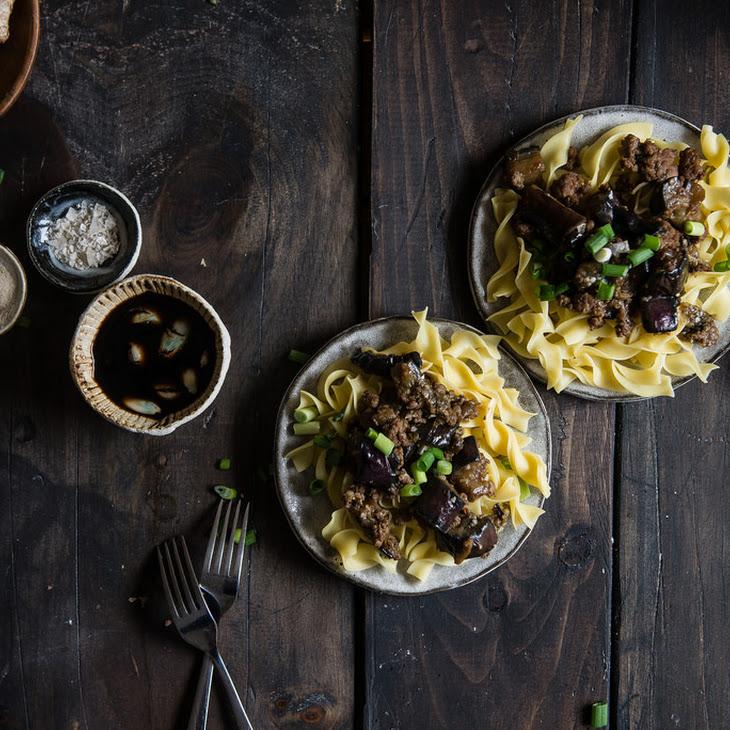 Spicy Garlic Eggplant & Ground Pork Noodles.