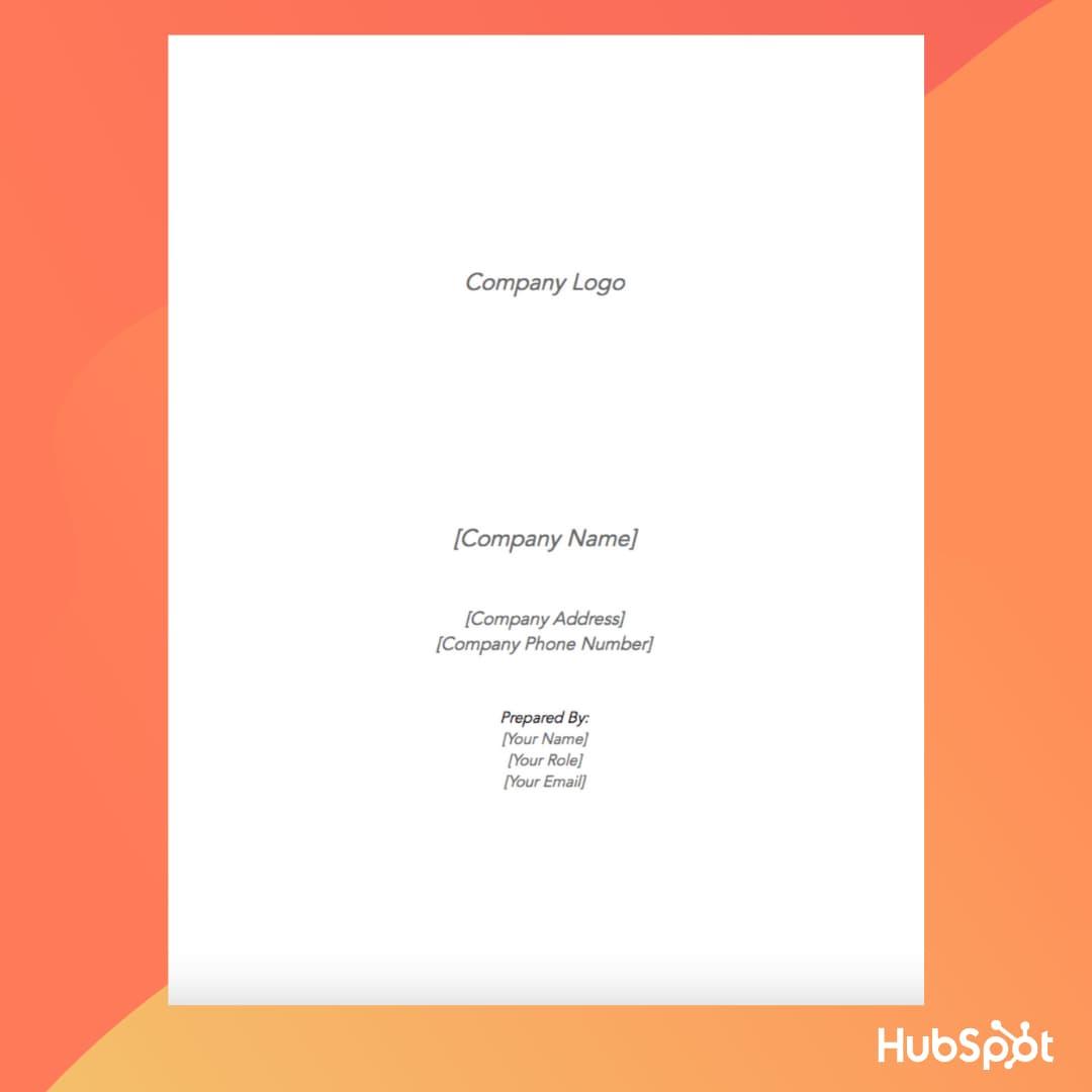 الگوی طرح کسب و کار: صفحه جلد