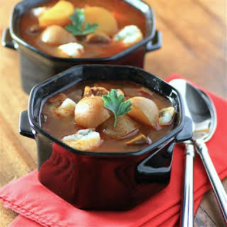 Slow Cooker Goulash Soup with Dumplings.