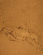 Photo: Charles Le Brun (1619-1690) Putto allongé Pierre noire et rehauts de blanc - 26 x 20,3 cm Dresde, Kupferstichkabinet Photo : D. Mandrella