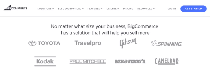 Big Commerce website effectively shows their client base in their website.