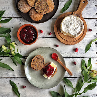 Whole-Wheat & Thyme Scones with Camembert & Cranberry Compote