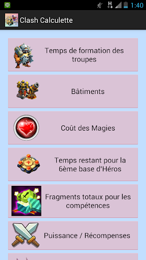 Clash Calculator in French