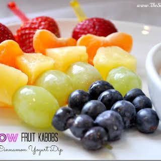 Rainbow Fruit Kabobs With Honey Cinnamon Yogurt Dip.