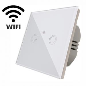 Intrerupator touch dublu WI-FI, cu panou de sticla, alb
