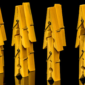clips by Paul Ortega - Artistic Objects Other Objects ( canon, wooden, dark, yellow, colored, clips )
