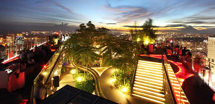 The view atop 1-Altitude, the rooftop bar in the One Raffles Place Building, Singapore.