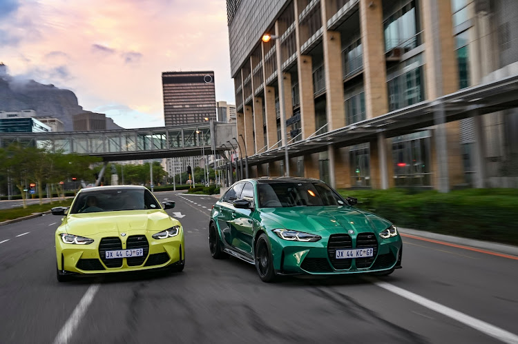The new BMW M4 Competition Coupé, left, and BMW M3 Competition Sedan are now available in SA.