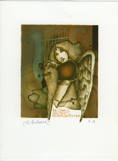 262. Bookplate. WALTER HUMPELSTÖTTER. Girl with angel´s wings, lyre in backround.