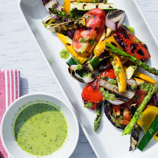 Grilled Vegetable Salad with Zucchini Salsa Verde .