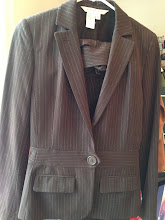 Photo: $45. Studio M size 4 pinstriped chocolate brown suit w/pencil skirt.