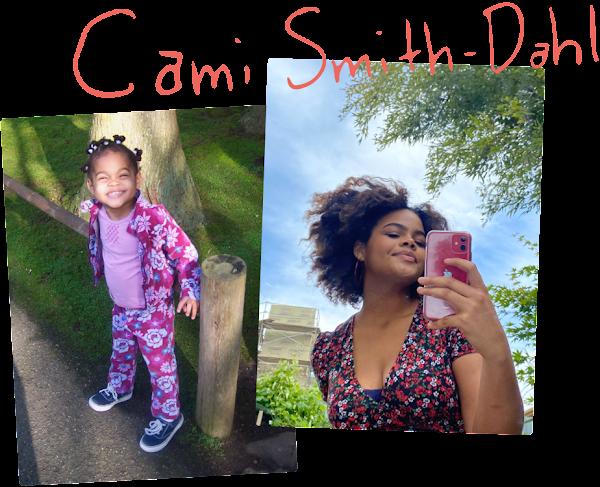 Retrato de Cami sonriendo de niña. Cami tomándose una selfie con su teléfono.