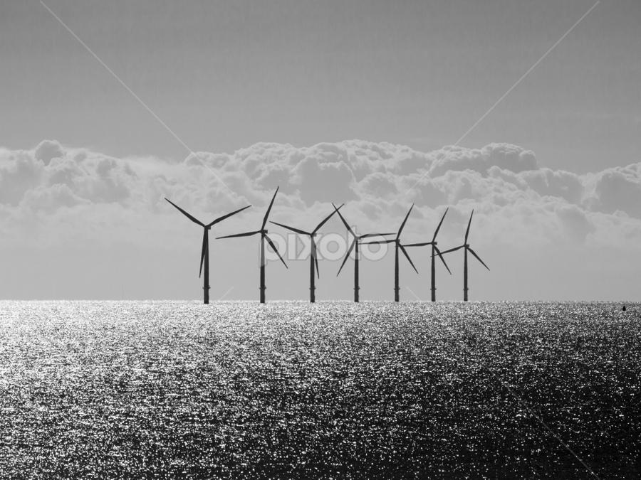 Windfarm at sea by Thomas Cochrane - Products & Objects Industrial Objects ( clacton, wind, north sea, windfarm, turbine, essex, uk., sea, windmills )
