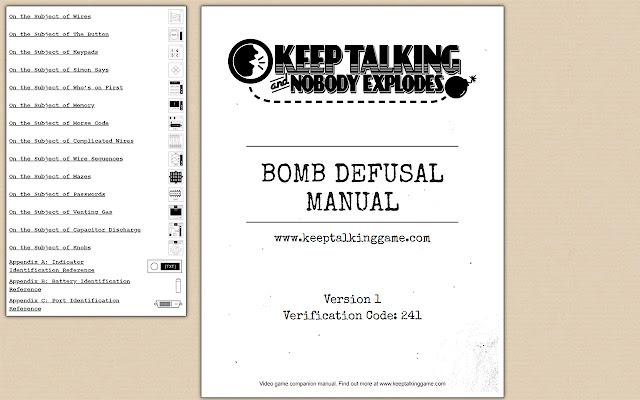 Keep Talking and Nobody Explodes manual menu