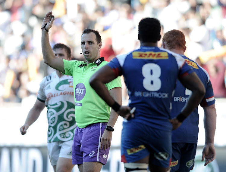 Referee Mike Fraser during the 2018 Super Rugby game between the Stormers and the Chiefs at Newlands Rugby Stadium, Cape Town on 12 May 2018.