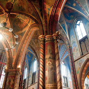 Church interior by J & M - Buildings & Architecture Other Interior ( interior, concept, wood, christianity, colorful, illustration, stone, architecture, pretty, gorgeous, germany, nord, gold, painting, light, building, kevelaer, church, decoration, beautiful, westphalia, image, windows, ornamental, rhine, color, blue, column, cathedral, view, religious, wall )