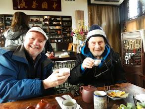 Photo: Hanuman and Joe at the Chinese Garden tea house