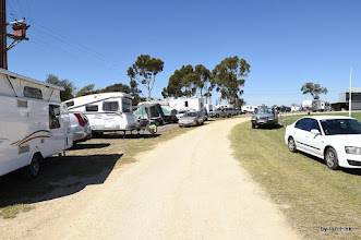 Photo: There were still lots of campers at the oval late Sunday afternoon