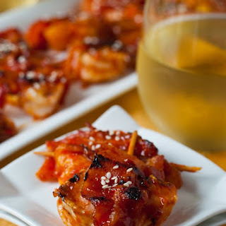 Sweet and Spicy Shrimp, Pineapple and Bacon Skewers.