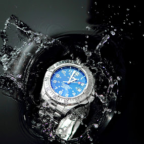 Splash Out! by Andy Barrow - Artistic Objects Jewelry ( breitling brietling watch water splash black blue )