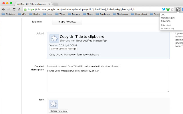 Copy Url Title to clipboard