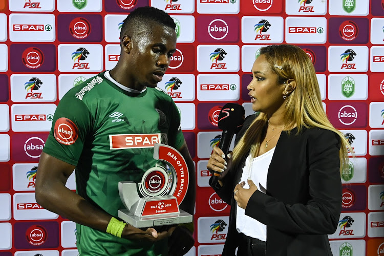 Bonginkosi Ntuli receives his man of the match award after scoring in a 2-1 Absa Premiership home win over Cape Town City at Princess Magogo Stadium on October 1 2019.