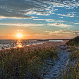Sunburst at Herring Cove by Karen Regan - Landscapes Sunsets & Sunrises ( clouds, sky, sunset, beach, capecod, photography, provincetown,  )