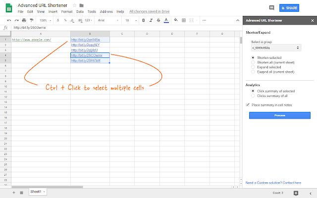 Advanced URL Shortener - Google Sheets add-on
