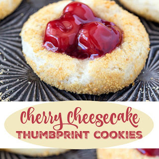 Cherry Cheesecake Thumbprint Cookies.