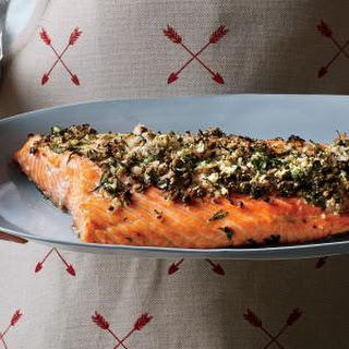 Roasted Salmon with Dill, Capers, and Horseradish.