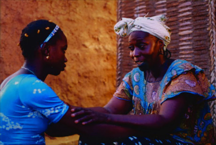 Screenshot for Sembène's 2004 film Moolaadé, which explores the subject of female circumcision in Africa.