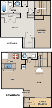 Go to One Bedroom Townhome Floorplan page.