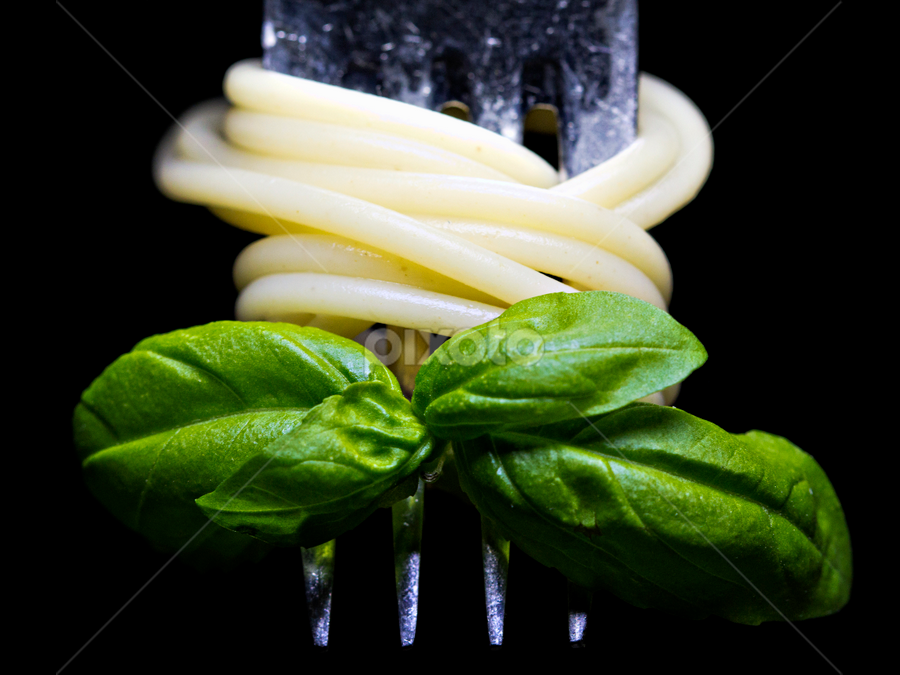 Yummy spaghetti and basil on a fork by Siew Feun Kylemark - Food & Drink Eating ( dinner, fork, spaghetti, food, basil, closeup, meal )