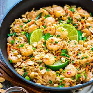Healthy Shrimp Pad Thai.