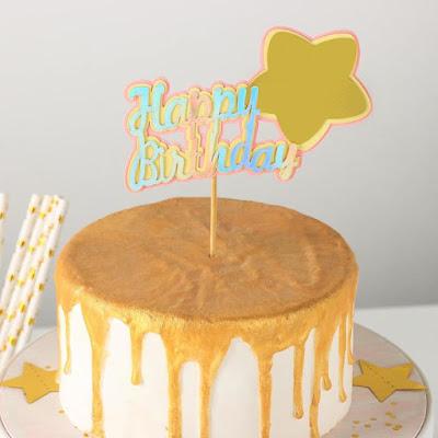 Топпер на торт «Счастливого дня рождения. Звезда», 18×12,5 см, цвет розово-золотой