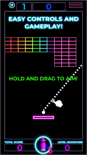 Brick Breaker: Neon Challenge screenshot 1